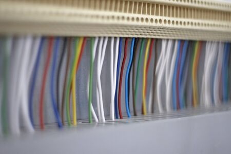 busbar: Cables to the panel, detail, Focus on center