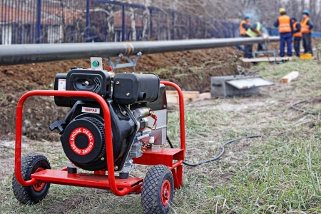 diesel generator: The portable diesel generator on site, emergency electric generator  Stock Photo