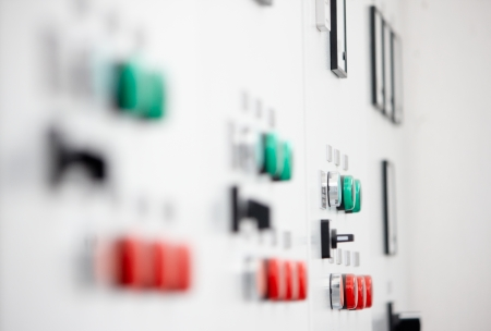 Closeup of control panel at the pumping station photo