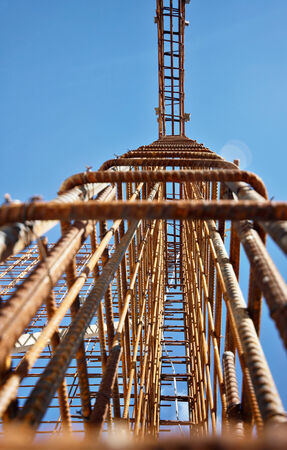 reinforcing: reinforcing steel in construction site, steel construction Stock Photo