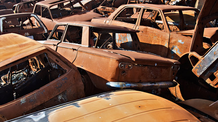 abandoned car: A lot of used cars in the junkyard