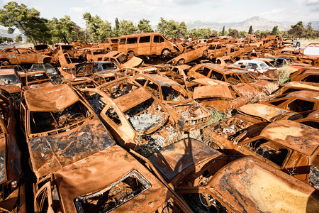 junk yard: A lot of used cars in the junkyard