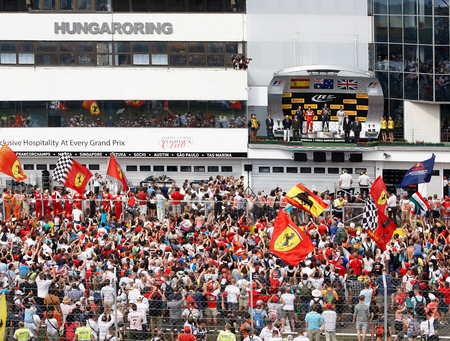 BUDAPEST - July 27: Podium and the audience after finish race at Hungaroring International Circuit on July 25-27. 2014. Budapest, Hungary