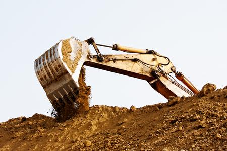 diggers: Excavator bucket on sky, Industrial excavator machine