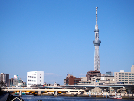 sumida ku: Landscape from nearby Sumida River (highway, building, Tokyo Sky Tree)