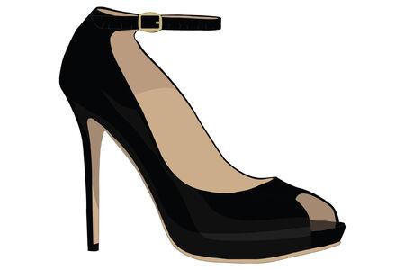 womans sexy high heel black fashion shoe Illustration