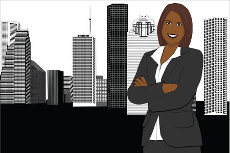 smiling african american business woman in the city Illustration