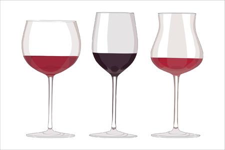 three glossy glasses of red fine wine Illustration