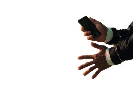 Prisoner holding a white background phone
