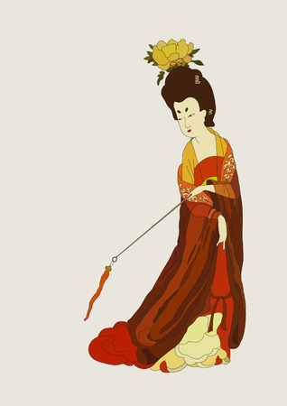 Chinese Tang Dynasty woman Vettoriali