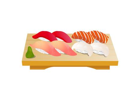 Japanese nigiri sushi vector illustration