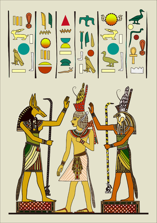 Egyptian ancient painting vector