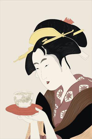 Japanese ukiyo-e, vector illustration S