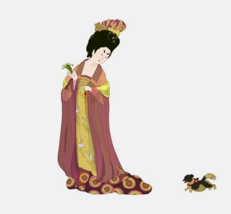 China Tang Dynasty. Ancient lady illustration.