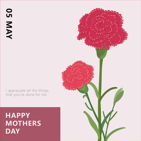 Hand drawn carnation greeting card, blessing mother's day