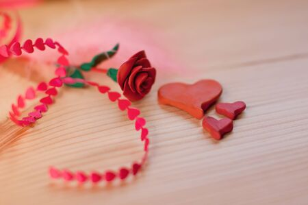 Beautiful romantic still life of roses and hearts for a loved one 写真素材