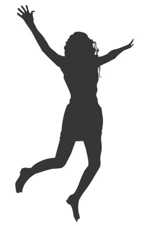 Black silhouette of a young joyful girl on a white background who jumps up Ilustração Vetorial
