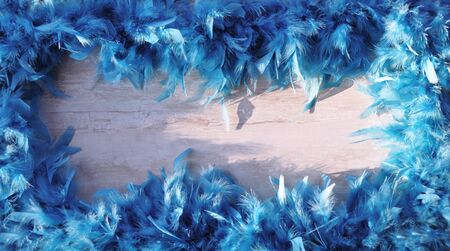 Bright blue fluffy frame on a light background of bird feathers