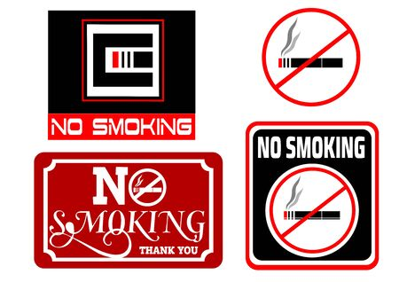 Different signs in red and black with the inscription that Smoking is prohibited Иллюстрация
