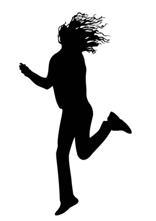 Black silhouette of a young joyful girl on a white background, which bounces and she develops curly hair