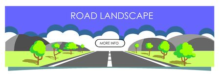 Vector illustration with beautiful summer landscape, road with asphalt, mountains and trees on the roadside