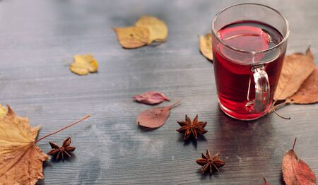 Autumn cozy and warm still life from a mug of red tea with lemon, dry autumn red leaves and cardamom on a dark wooden background