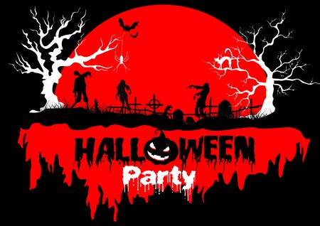 Caption Halloween party on red moon background with gloomy trees and dancing zombies