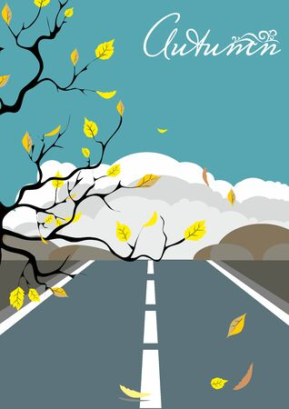 autumn landscape with falling dry leaves from a tree on the background of an asphalt road and mountains with clouds