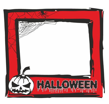 Red frame, stylized photo for invitations and posters for Halloween with pumpkin, spider and spider  Иллюстрация