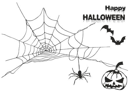 Set of vector elements to create different invitations and posters for Halloween: spider web, happy Halloween inscription, pumpkin and spider and bats on a white background Foto de archivo - 130747778