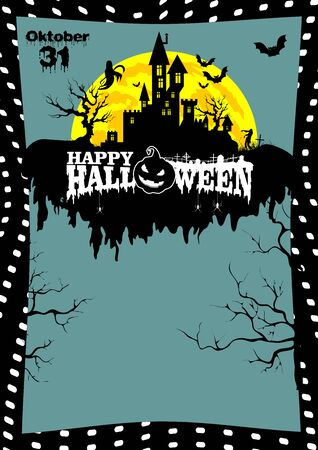 Poster, Billboard template with sample text for Halloween on a gray background with black with a castle on a cloud, Ghost, zombies and bats in a creative frame