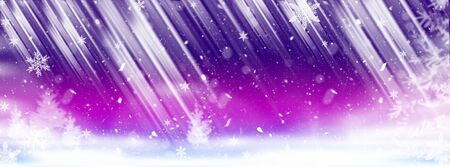 Winter beautiful illustration-template for background with snowflakes, snow, Christmas toys and white snow trees for New year and Christmas