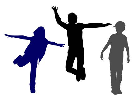 Silhouettes of young happy guys who jump up with their hands up and feel the vault and joy of these jumps