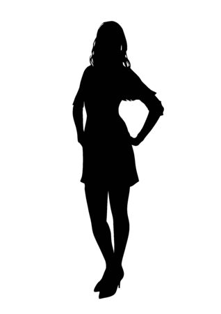 Black silhouette of a slender young business girl in a dress that poses beautifully in front of the photographer  イラスト・ベクター素材