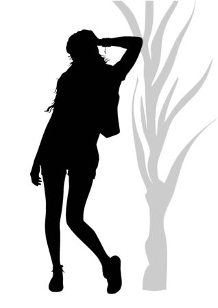 Black silhouette of a slim young athletic girl in shorts and sneakers, who is standing with her elbow leaned on a tree