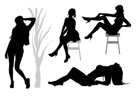Silhouettes of a group of slender tall girls with long legs and developing hair who pose for the photographer in various poses: sitting on a chair, lying and standing by a tree Standard-Bild - 132403372