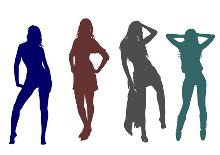 Silhouettes of a group of slender tall girls with long legs and developing hair posing for the photographer Standard-Bild - 132403375