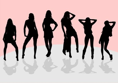 Silhouettes of a group of slender tall girls with long legs, who are standing on the podium and posing for the photographer Standard-Bild - 132403376