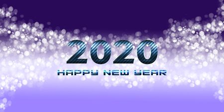 2020 Happy New Year greetings with bright blue background Фото со стока