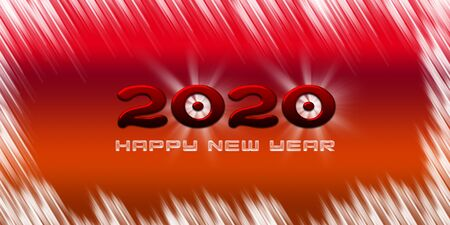 2020 happy new year greetings with bright red blue background Фото со стока