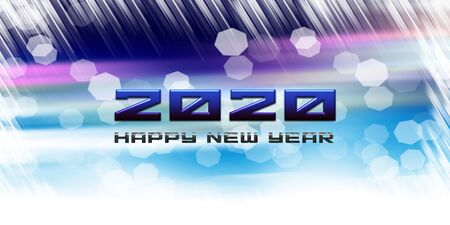 2020 happy new year greetings with bright beautiful blue background