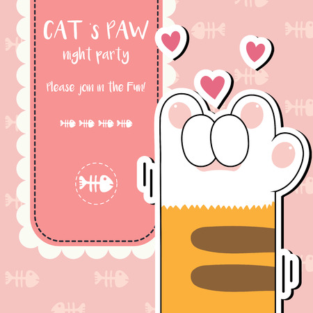 cute cat s paws night party invite wallpaper vector illustration, vector illustration