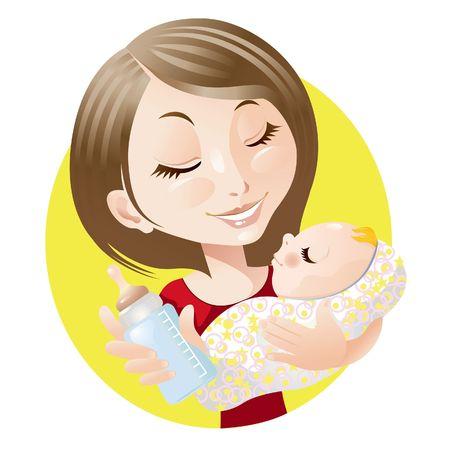 caricatura: Madre y beb�