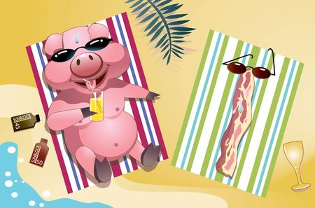 suntan lotion: Piglets sunbathing on beach. Stock Photo