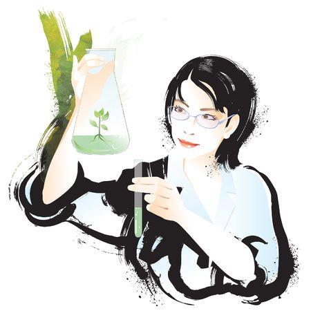 Female scientist examining liquid and plant in vial