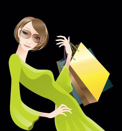 comtemporary: Woman holding shopping bag Stock Photo
