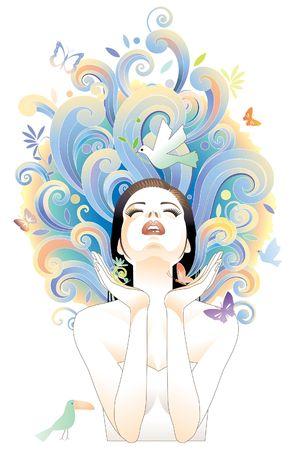 Young and beauty female meditating Reklamní fotografie