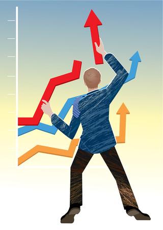 Businessman holding graph arrows