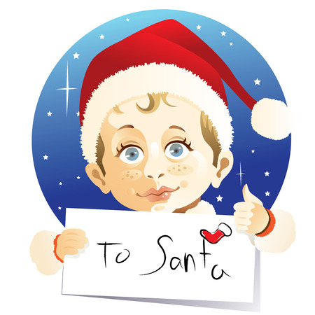 Little boy sending a letter to Santa Claus Vector