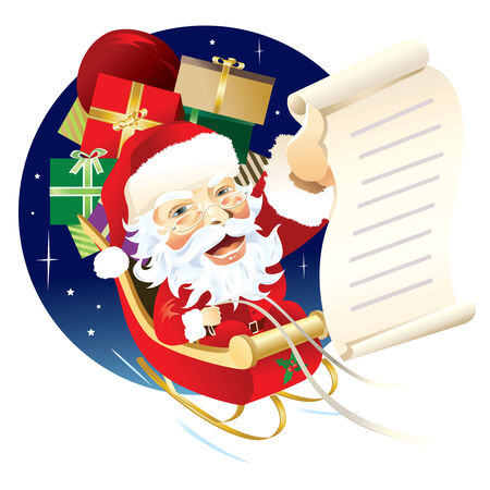 Santa Claus delivering gifts with flying sleigh